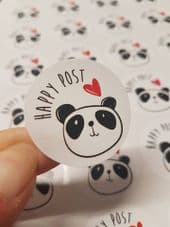 Panda Happy Post -  37mm Round Paper Stickers