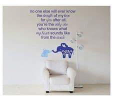 Strength And Love - Mummy And Baby Elephant Wall Art Decal Sticker
