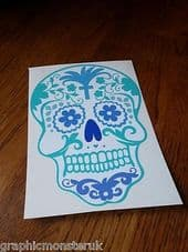 Sugar Skull Candy Skull Day Of The Dead Adhesive Vinyl Sticker Decal Multicolour