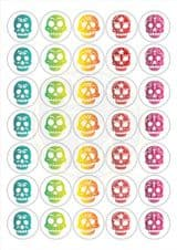Sugar Skull Candy Skull Stickers - 5 Designs - Matt Paper - 37mm Rounds - Part Bags, Sweet Cones, Birthday