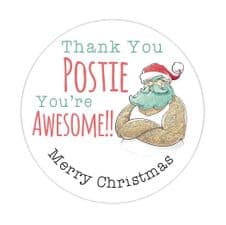 Thank You Postie You're Awesome - Merry Christmas Stickers - 37mm Round Paper 2 for 1 Tuesday