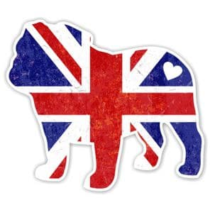 Union Jack Union Flag Bulldog Heart Sticker