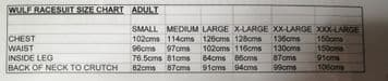 WULF ADULT RACE SUIT SIZE CHART