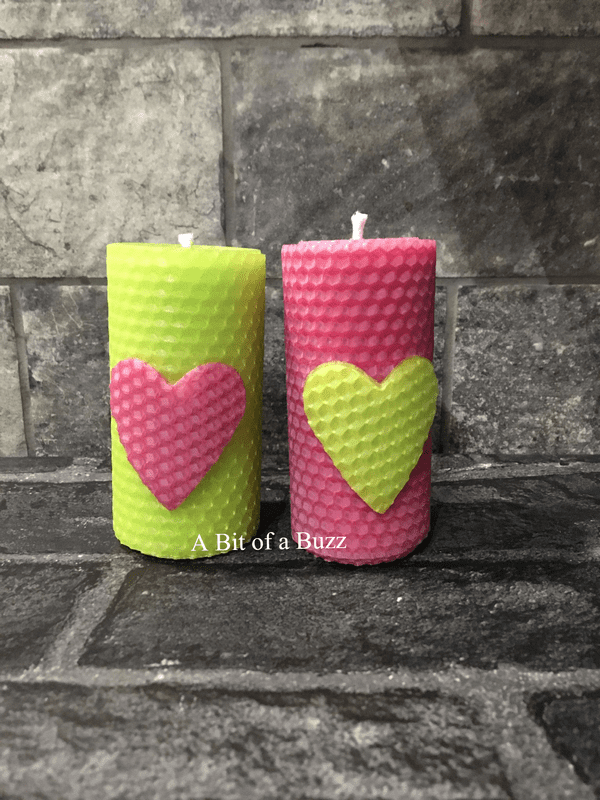 Pair of Pink & Green Beeswax Heart Candles