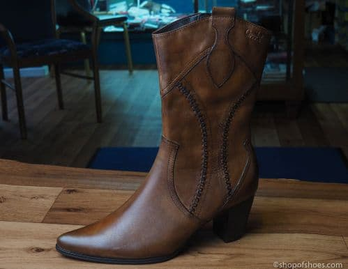 Deep brown leather mid length boot from caprice 9-25314-25