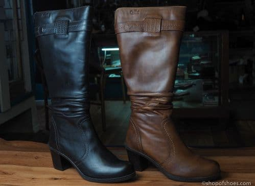 Deep brown or black  leather full length boot from caprice 9-25534 - 25