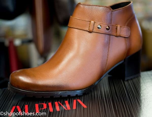 Alpina soft leather tan zip ladies ankle boot.
