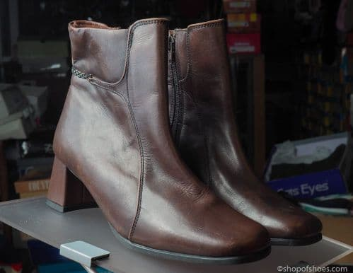 brown  leather ankle length boot