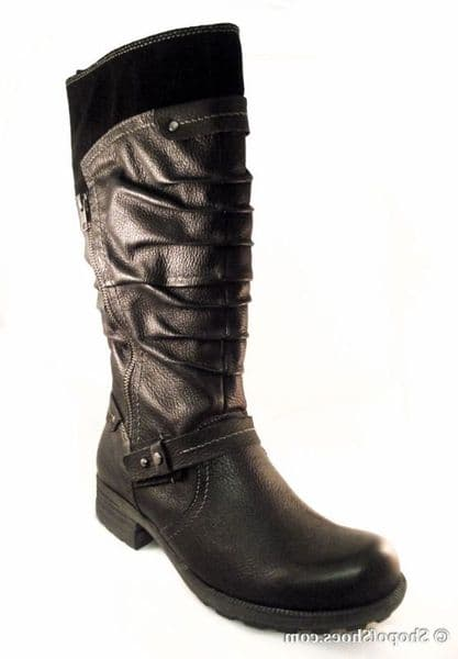 Earth Spirit long black leather zip boot