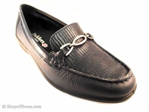 Ellen navy with Navy Reptile EE leather moccasin