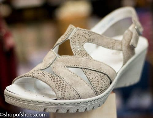 Fran Ladies E fitting soft suede wedge Sandal