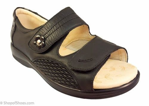 Graceful 4E wide fit padders velcro sandal in black leather with stretch panel.