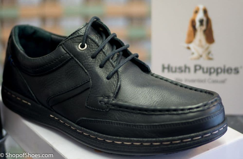 Hush Puppies Mens soft black leather shoe up to size 13