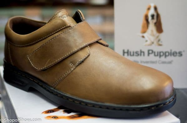 Hush Puppies Mens soft brown leather velcro shoe