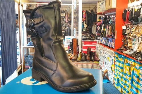 Jay black leather mid length boot, with adjustable straps and side zip