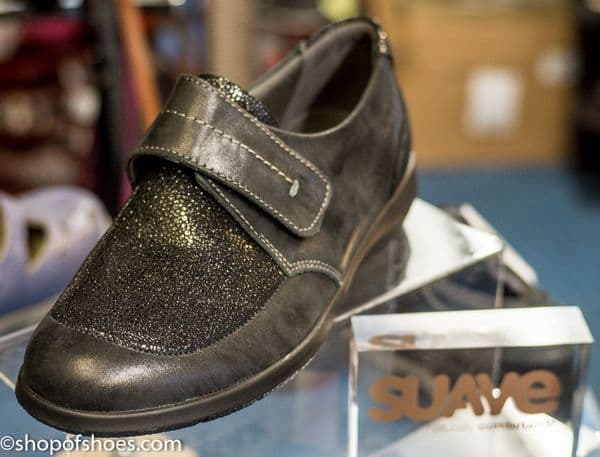 Lucille black shimmer leather velcro shoe.