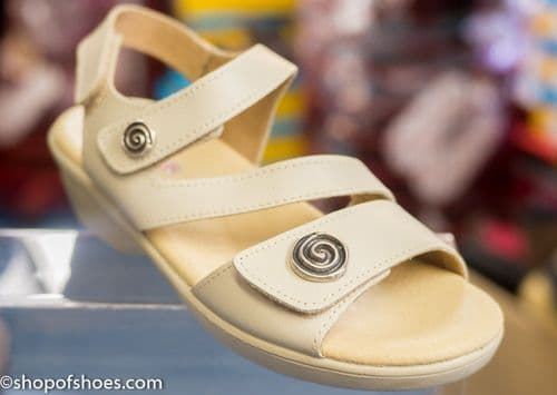 Madeira Fabulous beige sandal with decorative button detail.