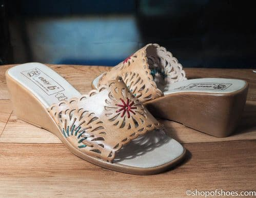 Mirabel lovely tan  leather mule with wedge heel