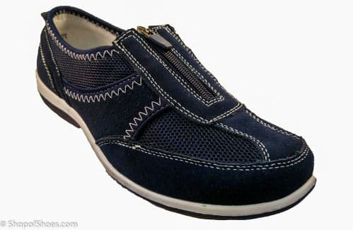 Navy leather sporty zipped ladies leisure shoe