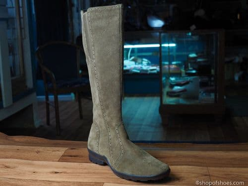 Olive suede mid length  zipped  winter boot