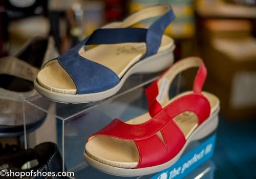 Rebecca leather sandal in Red, Navy or Black