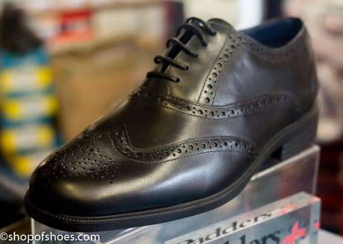 Smart black leather mens laced padders oxford brouge shoe.