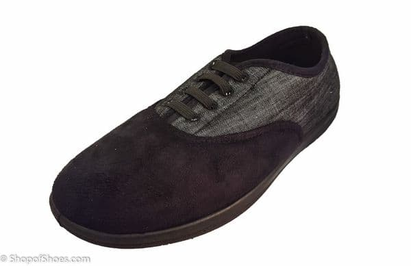 """Sneaker, a Wide fitting mens """"fake lace"""" Padders slipper in black"""