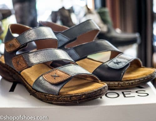 Very soft leather velcro strap sandal in blue or white
