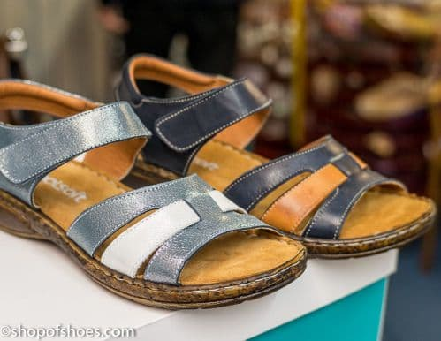 Very soft leather velcro strap sandal in navy or blue metalic