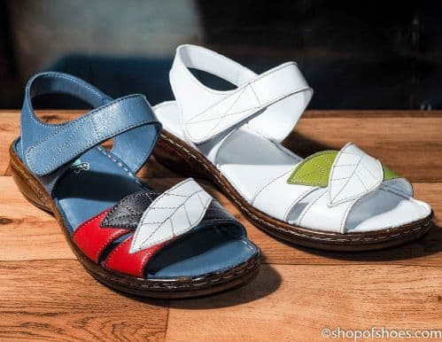 Very soft leather velcro strap sandal in navy or white