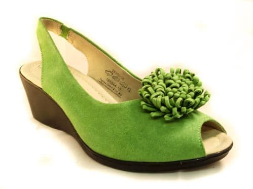 Vibrant green luxury suede leather caprice sandal.