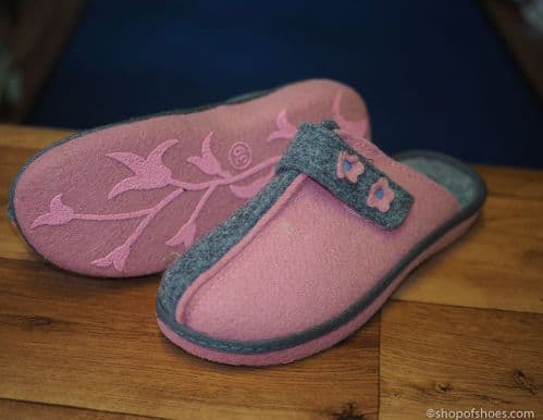 Wider fit comfortable 2 tone pink and grey felt  mule