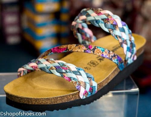 Womens summer mule sandal with soft woven leather straps