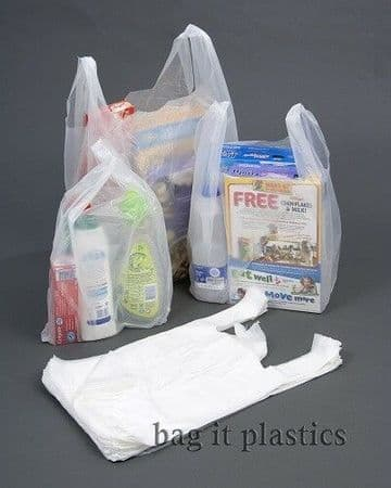 CARRIER BAGS WHITE VEST STYLE PLASTIC BAG SMALL, MEDIUM & LARGE - 100% Recyclable