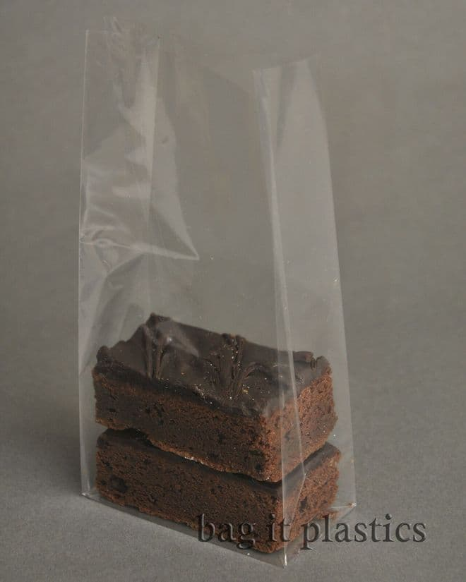 CELLOPHANE BAGS BLOCK BOTTOM CELLO CLEAR PICK N MIX SWEET BROWNIE FOOD SAFE