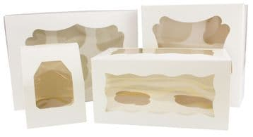 CUPCAKE BOXES WHITE CARDBOARD WITH WINDOW AND REMOVABLE INSERTS
