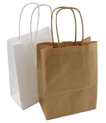 """TWIST HANDLE RIBBED PAPER BLOCK BOTTOM CARRIER BAGS - WHITE or BROWN - 6"""" x 3"""" x 8"""""""