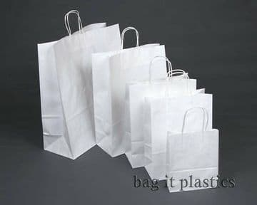 """TWIST HANDLE RIBBED PAPER BLOCK BOTTOM CARRIER BAGS - WHITE or BROWN - 9"""" x 4¼"""" x 12½"""""""