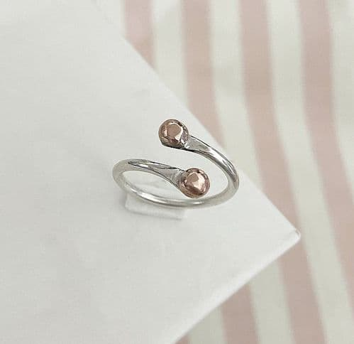 Adjustable Silver & Copper Ring