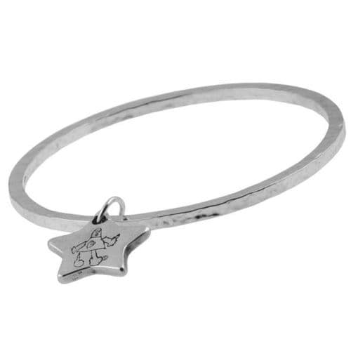 Artwork Charm And Medium Hammered Bangle
