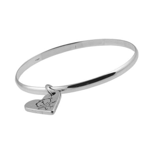 Artwork Charm And Medium Smooth Bangle