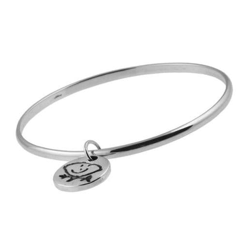 Artwork Charm And Small Smooth Bangle