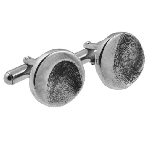 Circle Partial Fingerprint Cufflinks