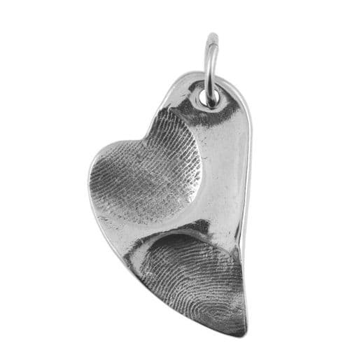 Folk Heart Partial Fingerprint Pendant