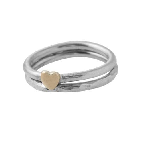 Golden Heart And Hammered Ring
