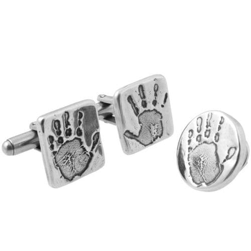 Hand Print Cufflinks And Pin