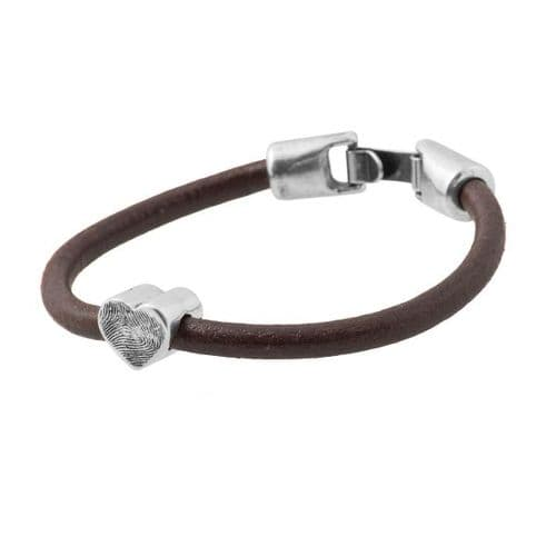 Heart Fingerprint Bead Leather Bracelet.