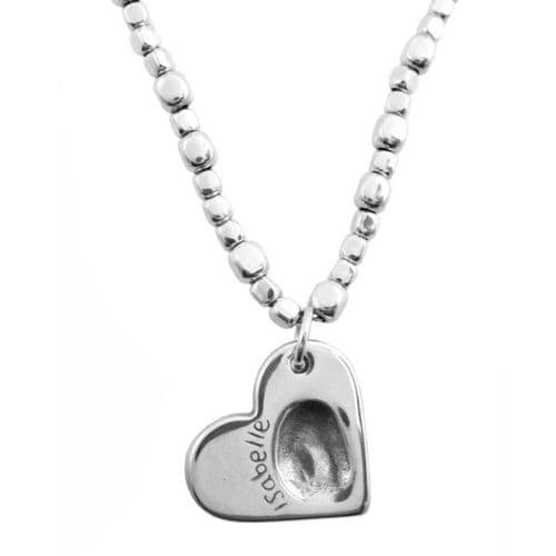 Heart Fingerprint Beaded Necklace