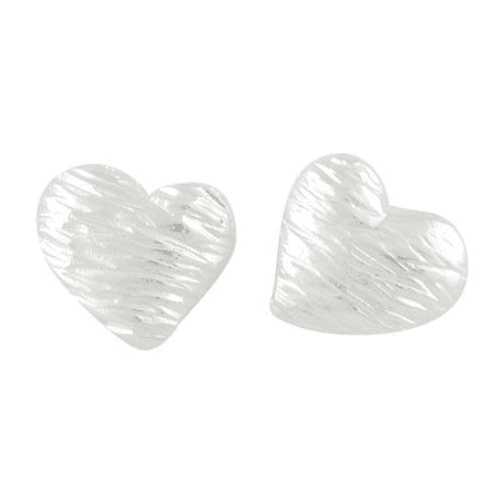 Large Silver Textured Heart Studs