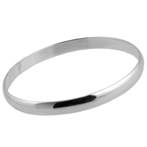 Large Smooth Finish Silver Bangle